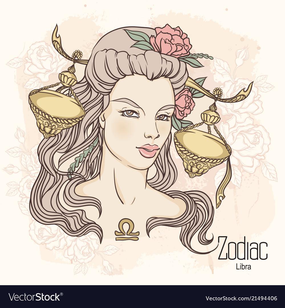 Zodiac of libra as girl with