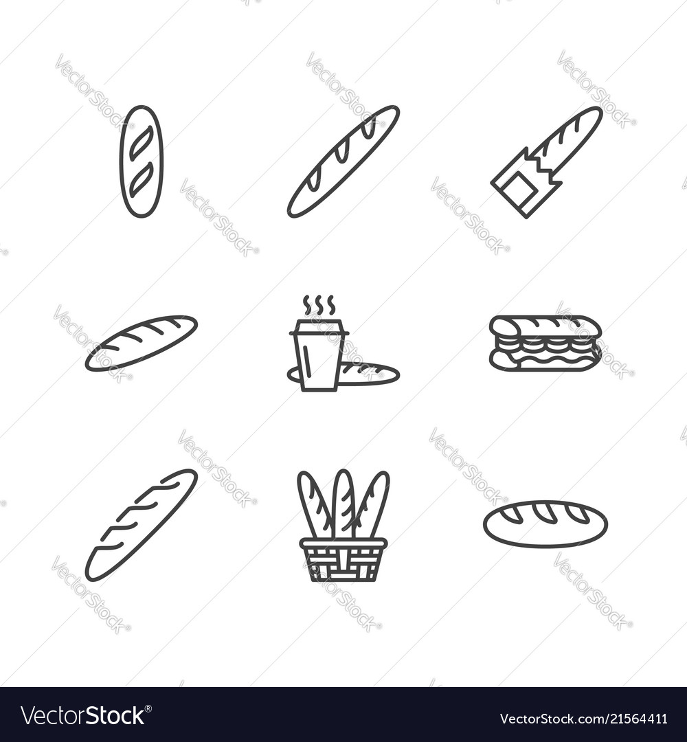 Baguette food flat line icons bread house