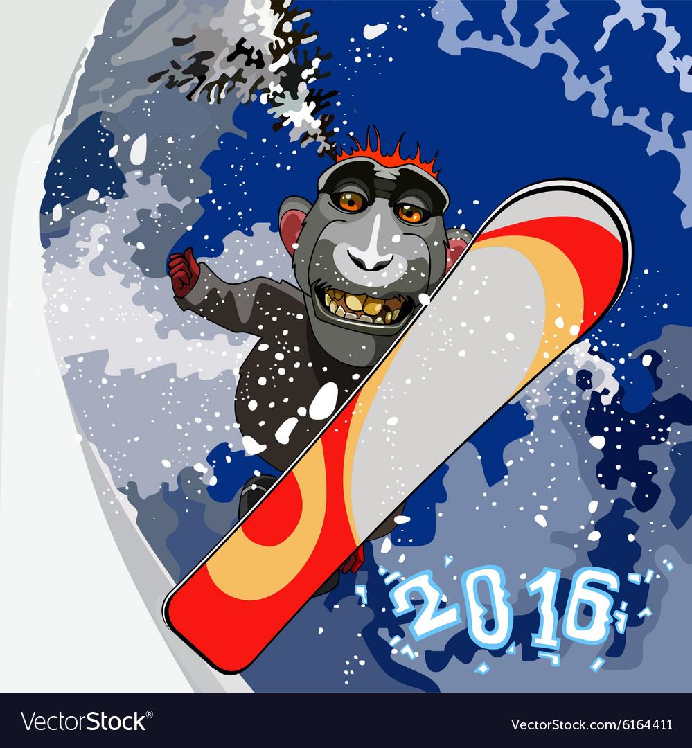 Cartoon smiling monkey gorilla snowboarding