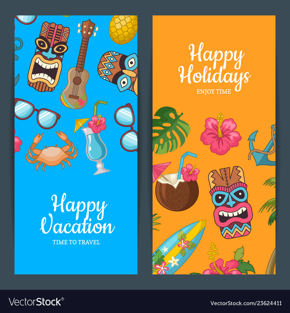 Cartoon summer travel web banner templates