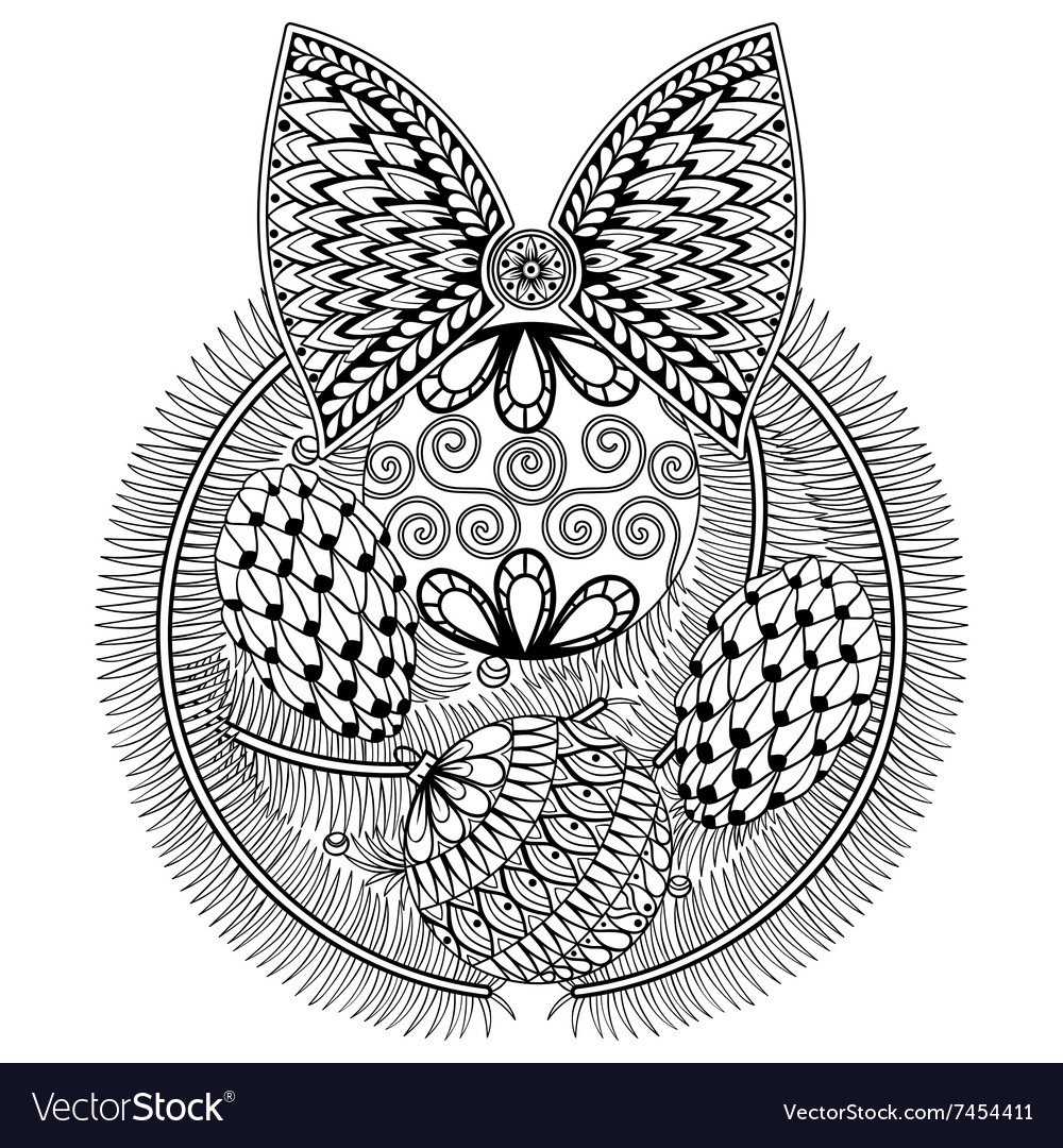 Christmas Owl Zentangle coloring page | Free Printable Coloring Pages | 1080x1000