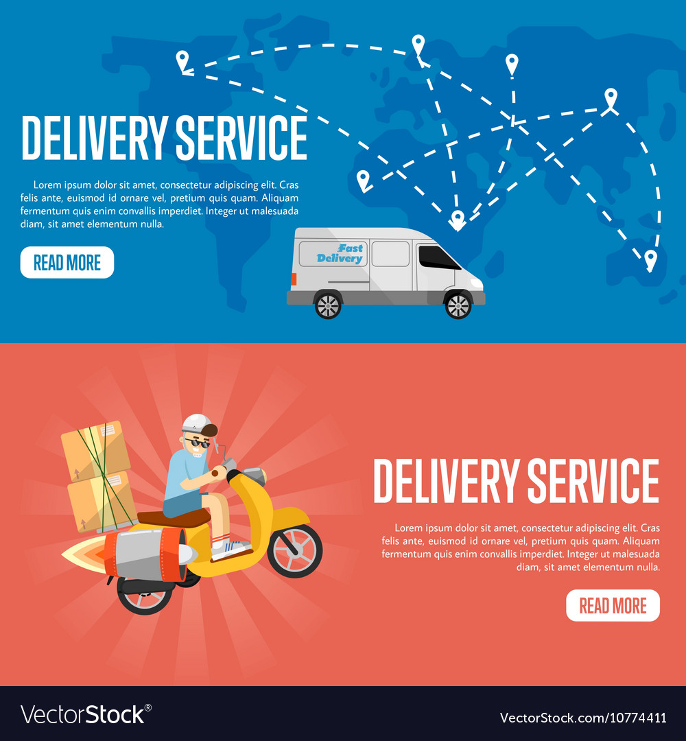 Delivery Service Horizontal Website Templates Vector Image