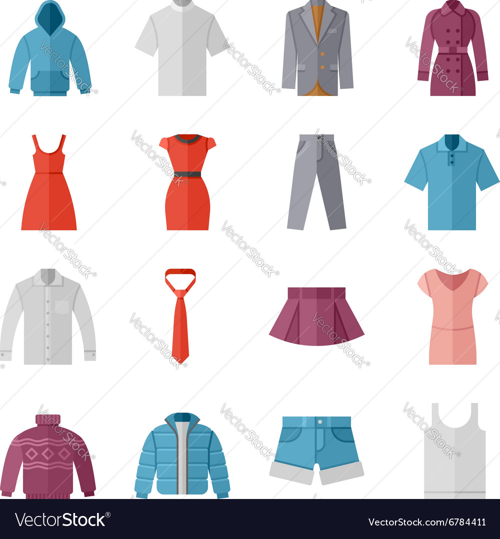 Fashion and clothes flat icons