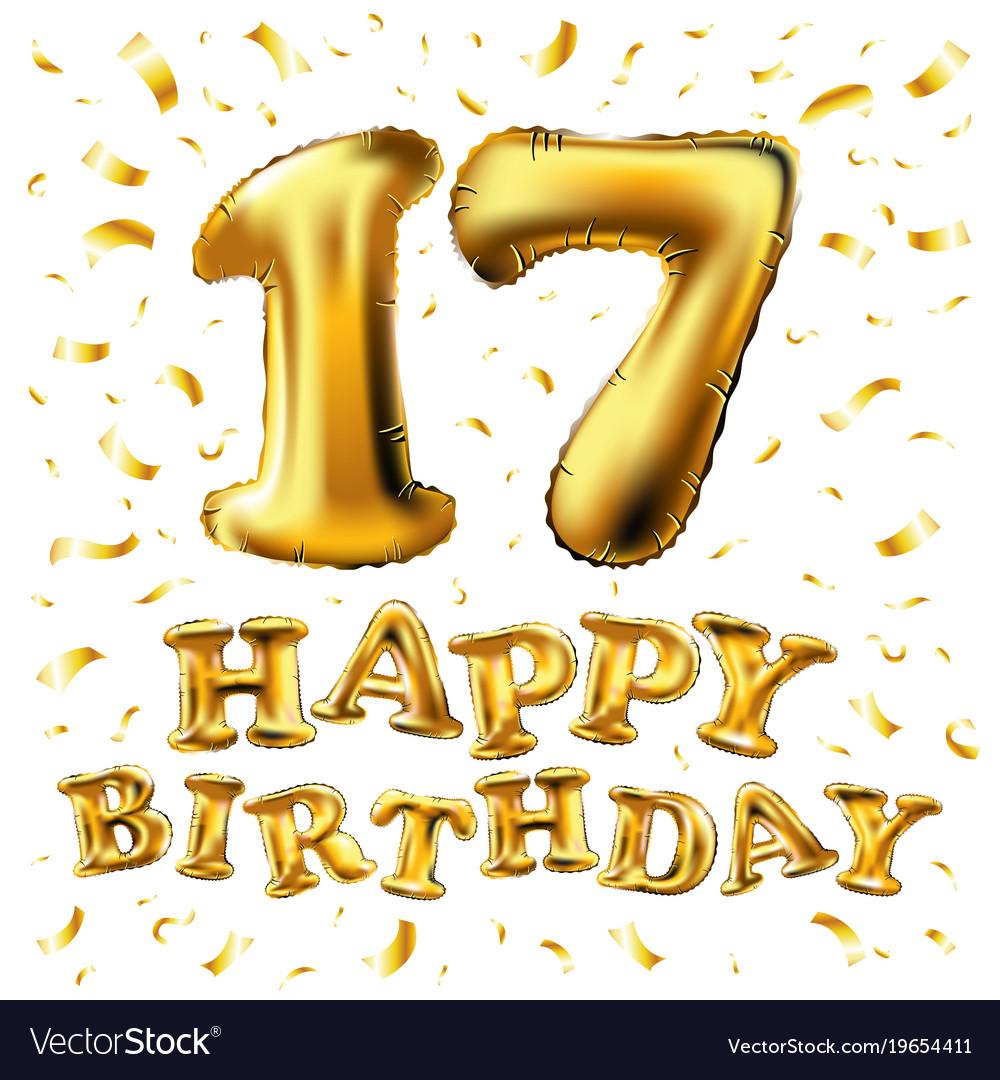 Golden number 17 seventeen metallic balloon party