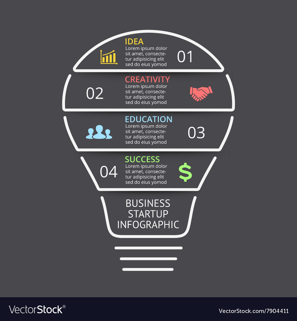 Light Bulb Linear Infographic Template For Vector Image Idea With Creative Diagram