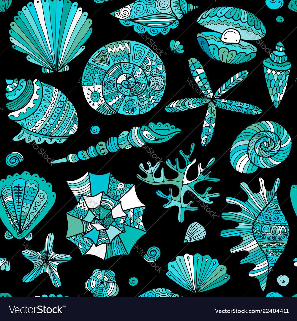 Marine seamless pattern ornate seashells for your