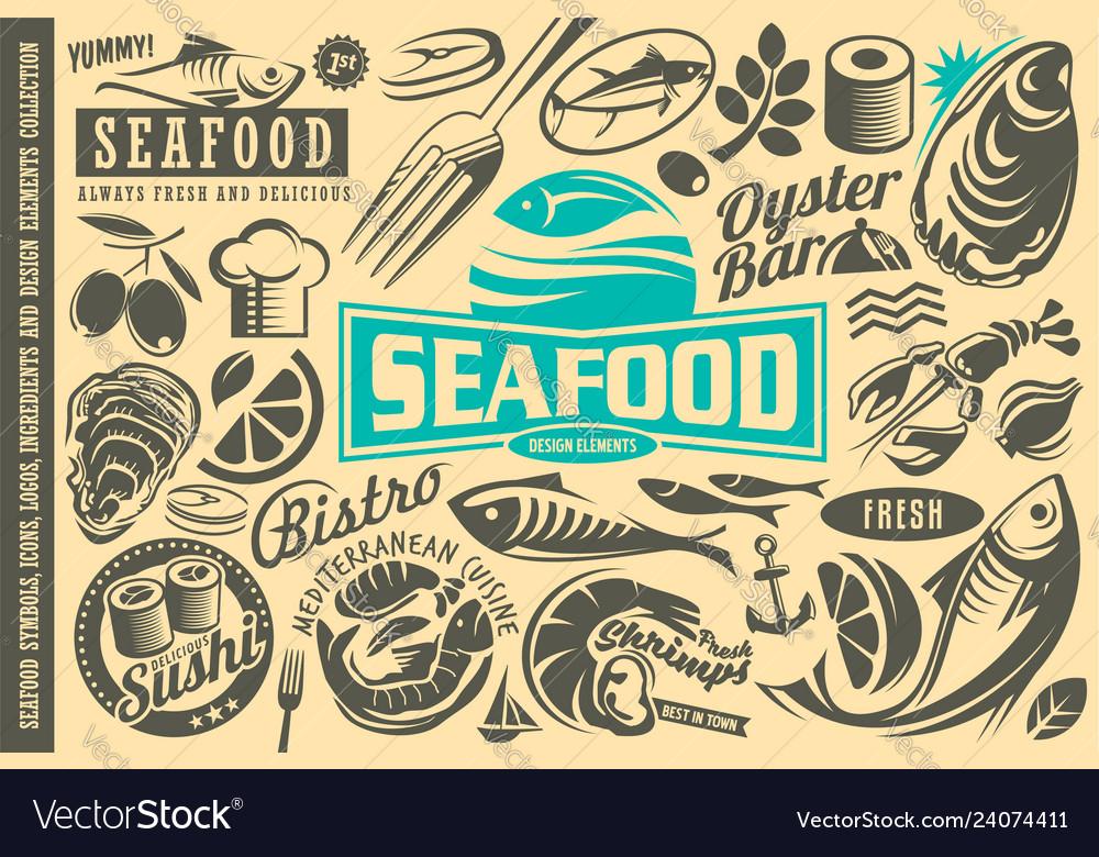 Seafood restaurant design elements collection