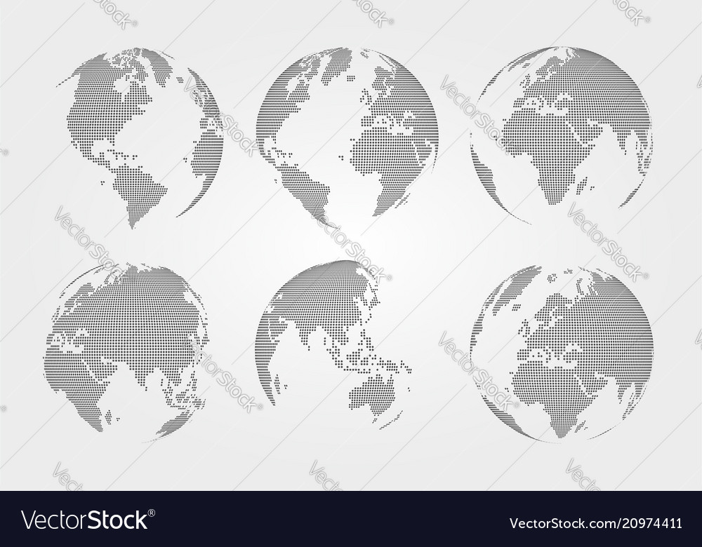 Set of world map dotted style