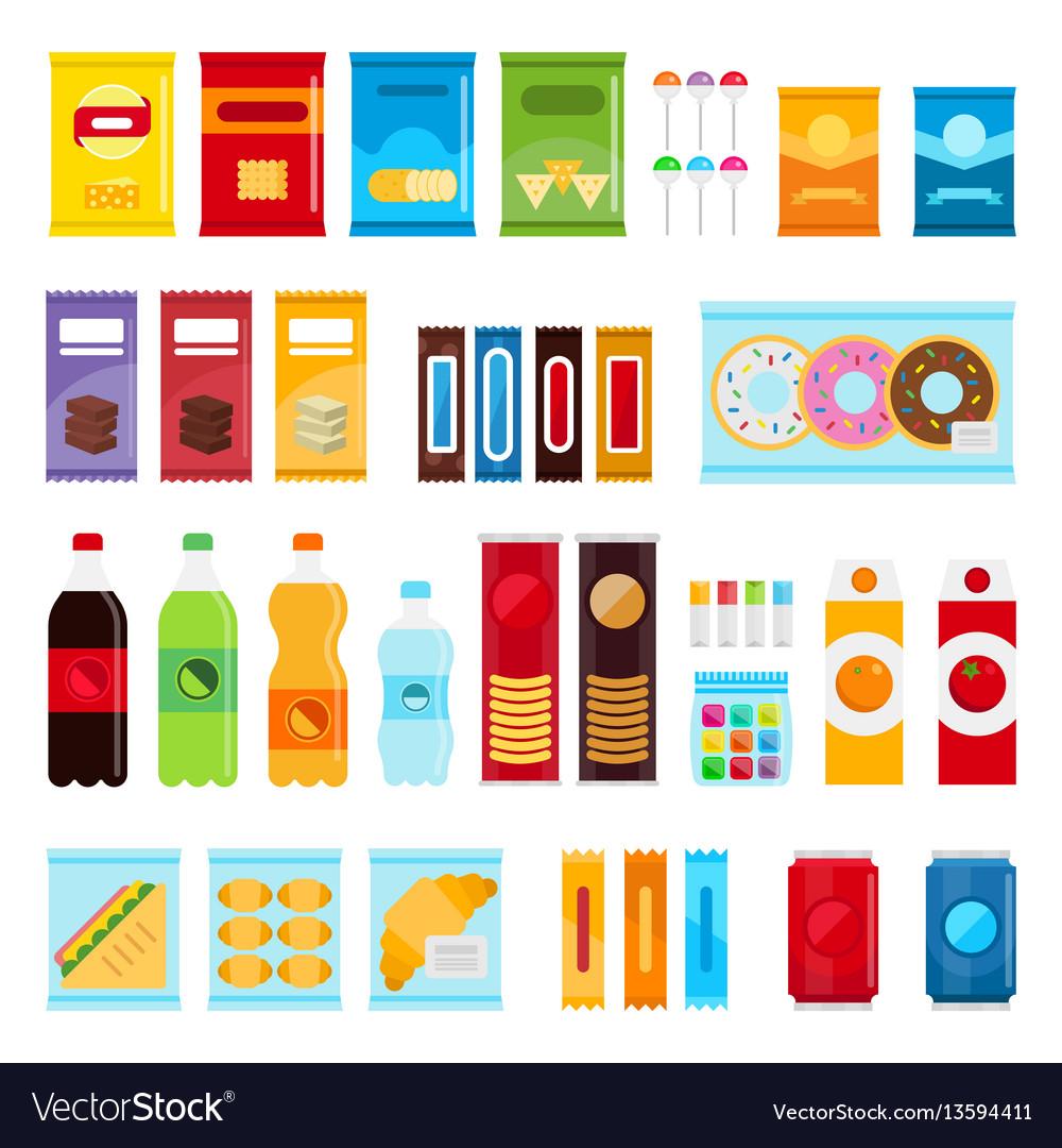 Vending machine product items set flat vector image