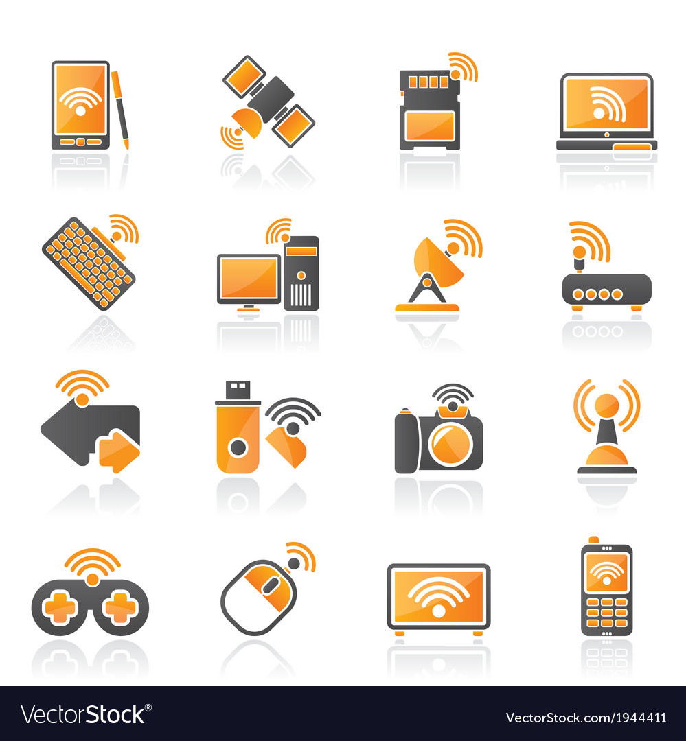 Wireless and communications icons vector image