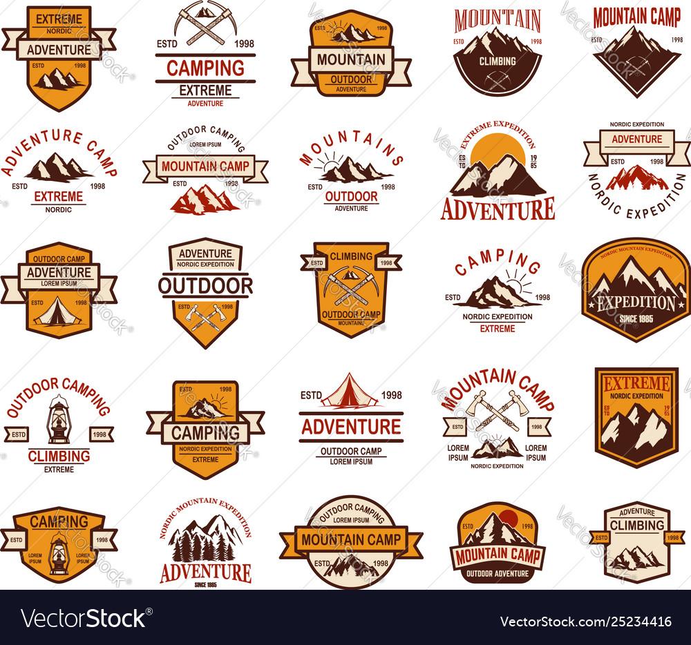 Big set mountain hiking emblems design element