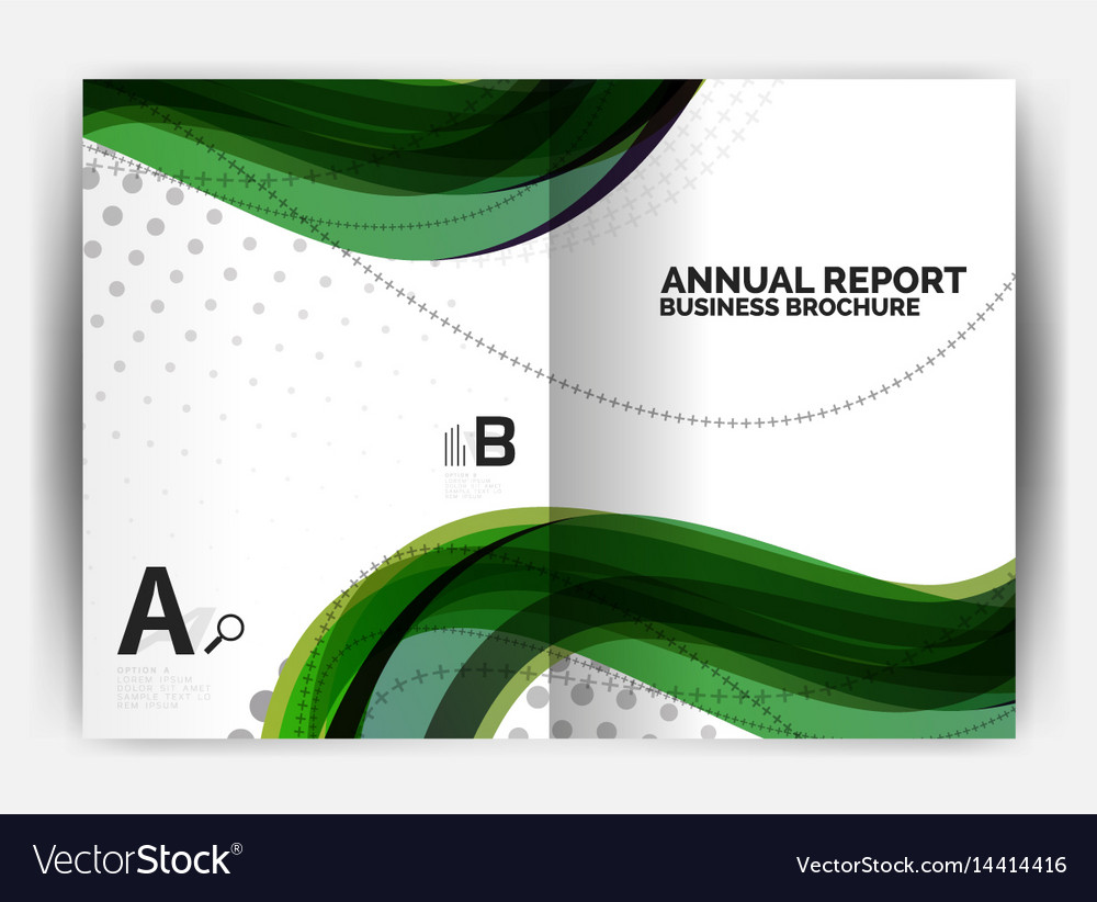 business report cover template wave royalty free vector