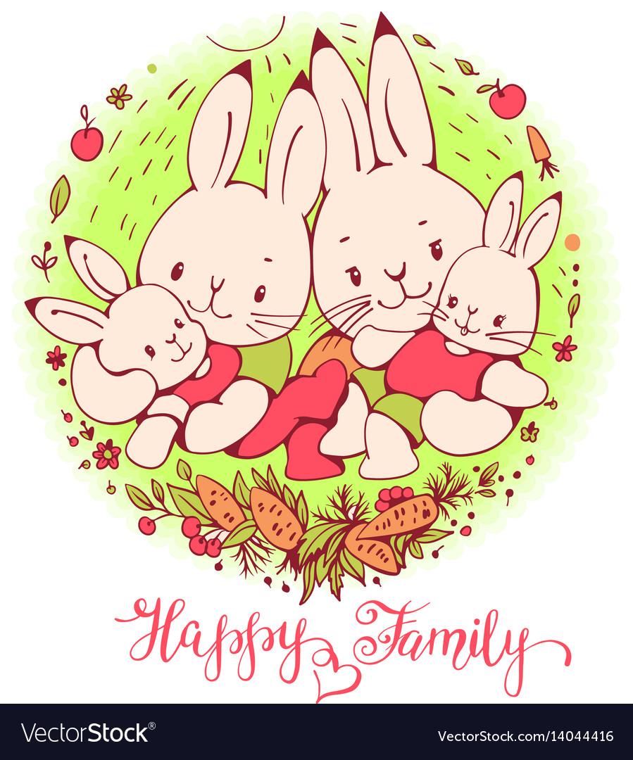 Cartoon bunnies family vector image