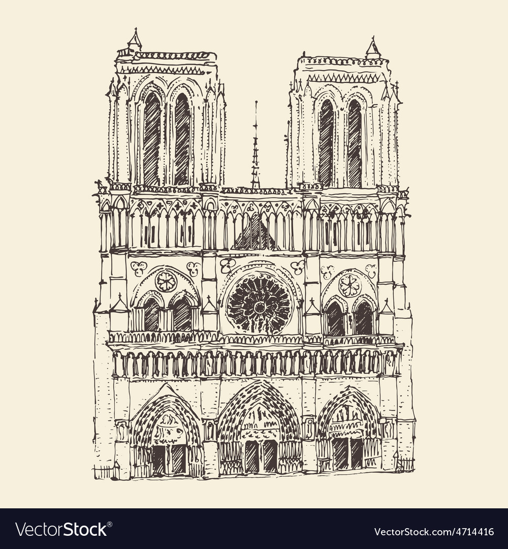 Cathedral of Notre Dame de Paris France vintage vector image