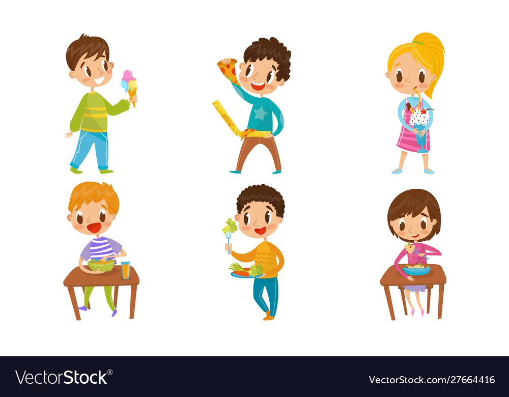 Children Eating Healthy And Junk Food Different Vector Image