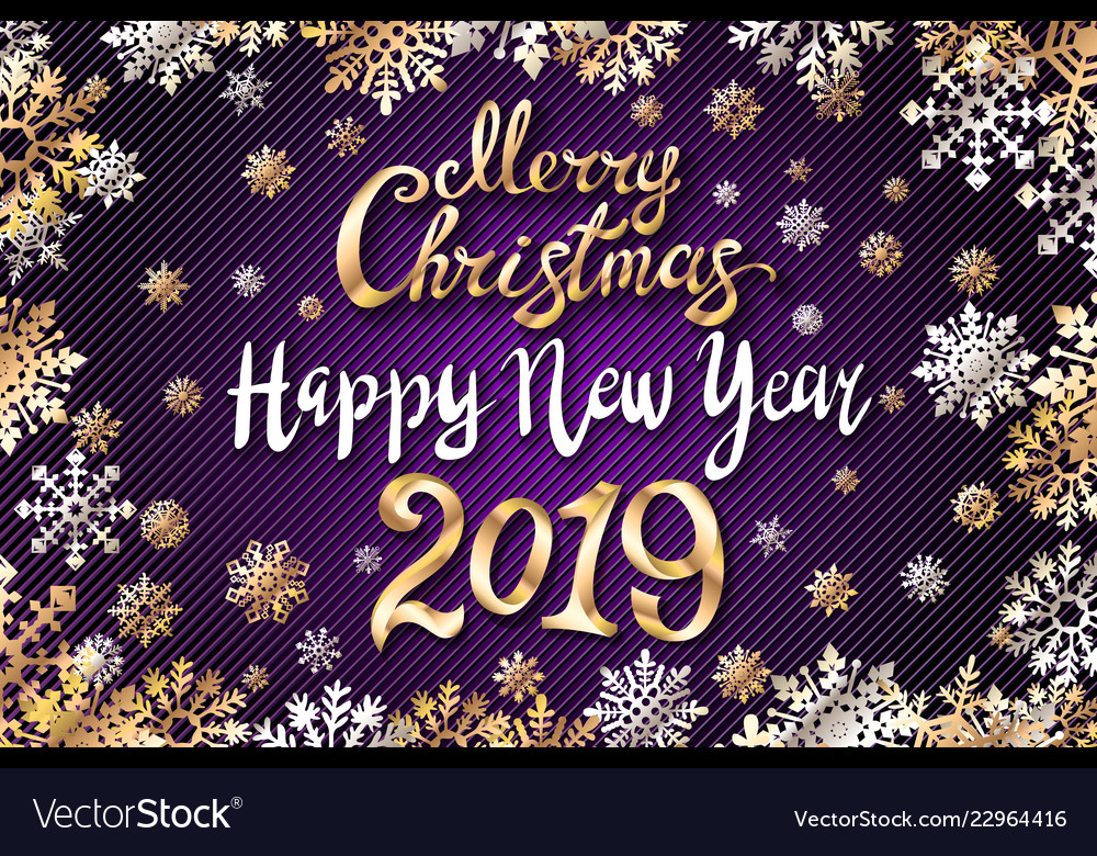 Gold merry christmas and happy new year 2019