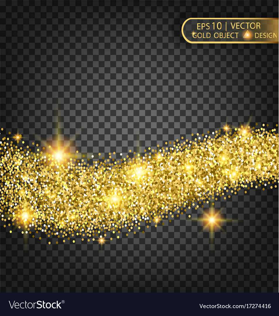 Gold sparkles on a transparent background gold