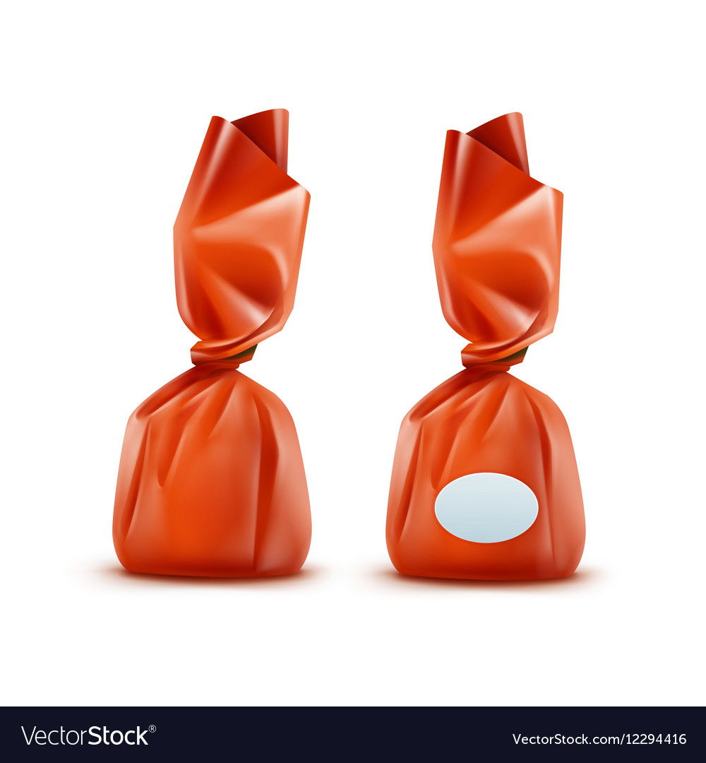 Realistic Chocolate Candy in Orange Wrapper