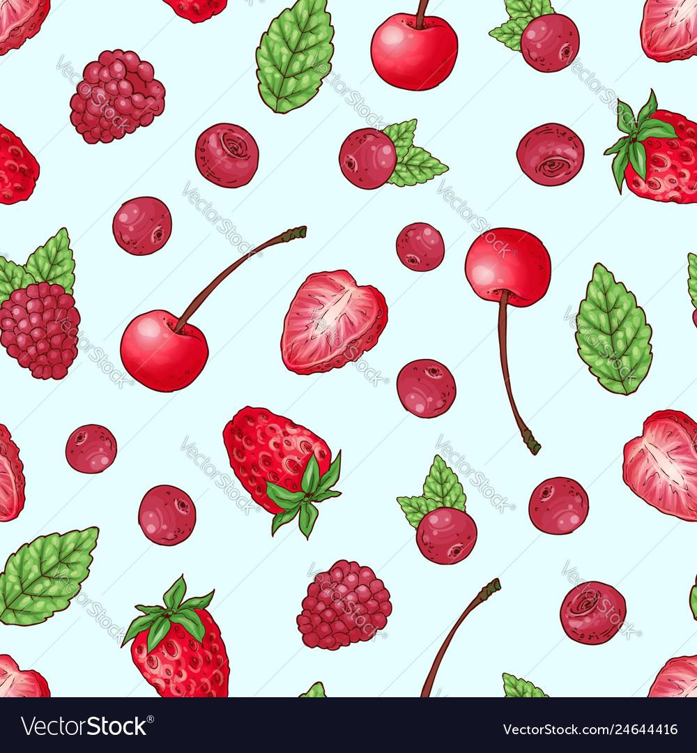 Seamless pattern strawberry cherry raspberry hand