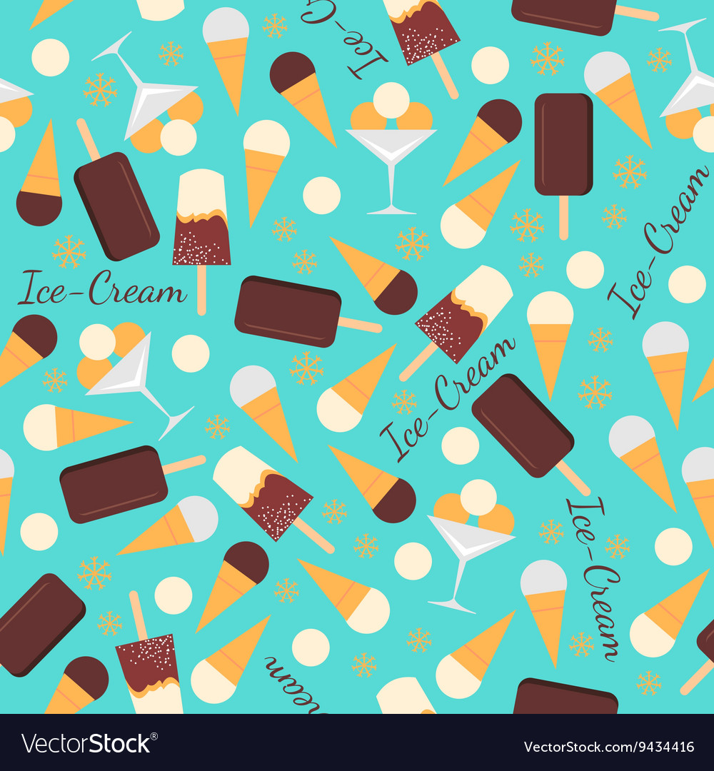 Seamless pattern with ice creams isolated on blue