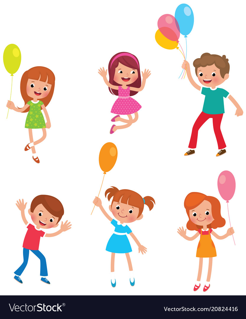 Set of funny kids with balloons