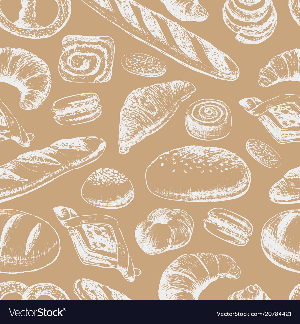 Bakery hand draw seamless pattern