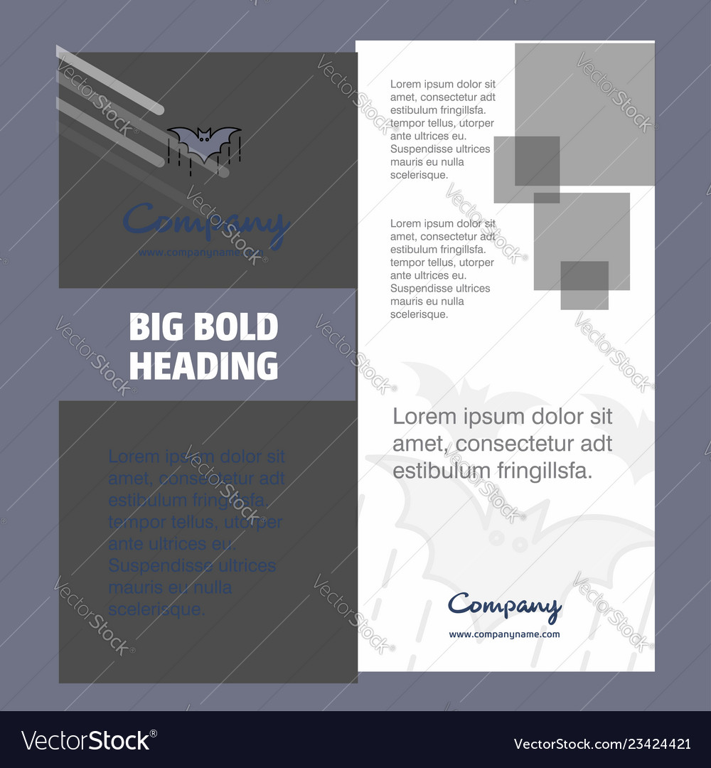 Bat company brochure title page design company