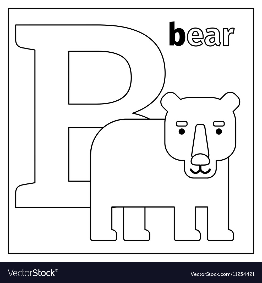 Bear letter B coloring page vector image