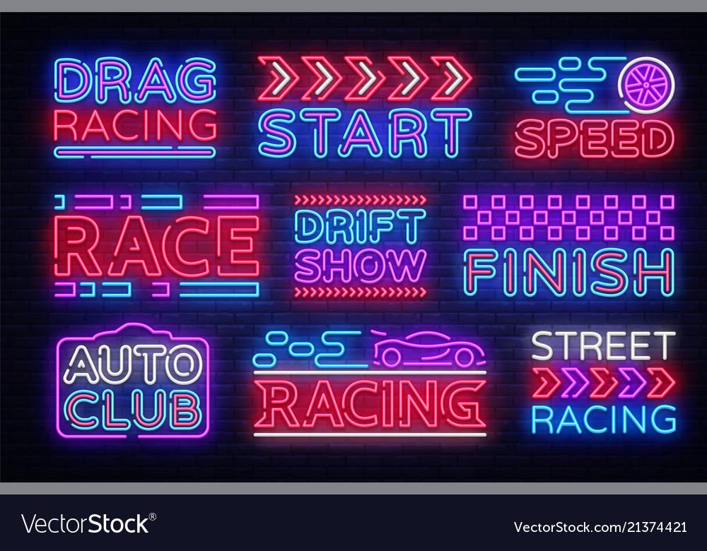 Big collection racing neon sign design