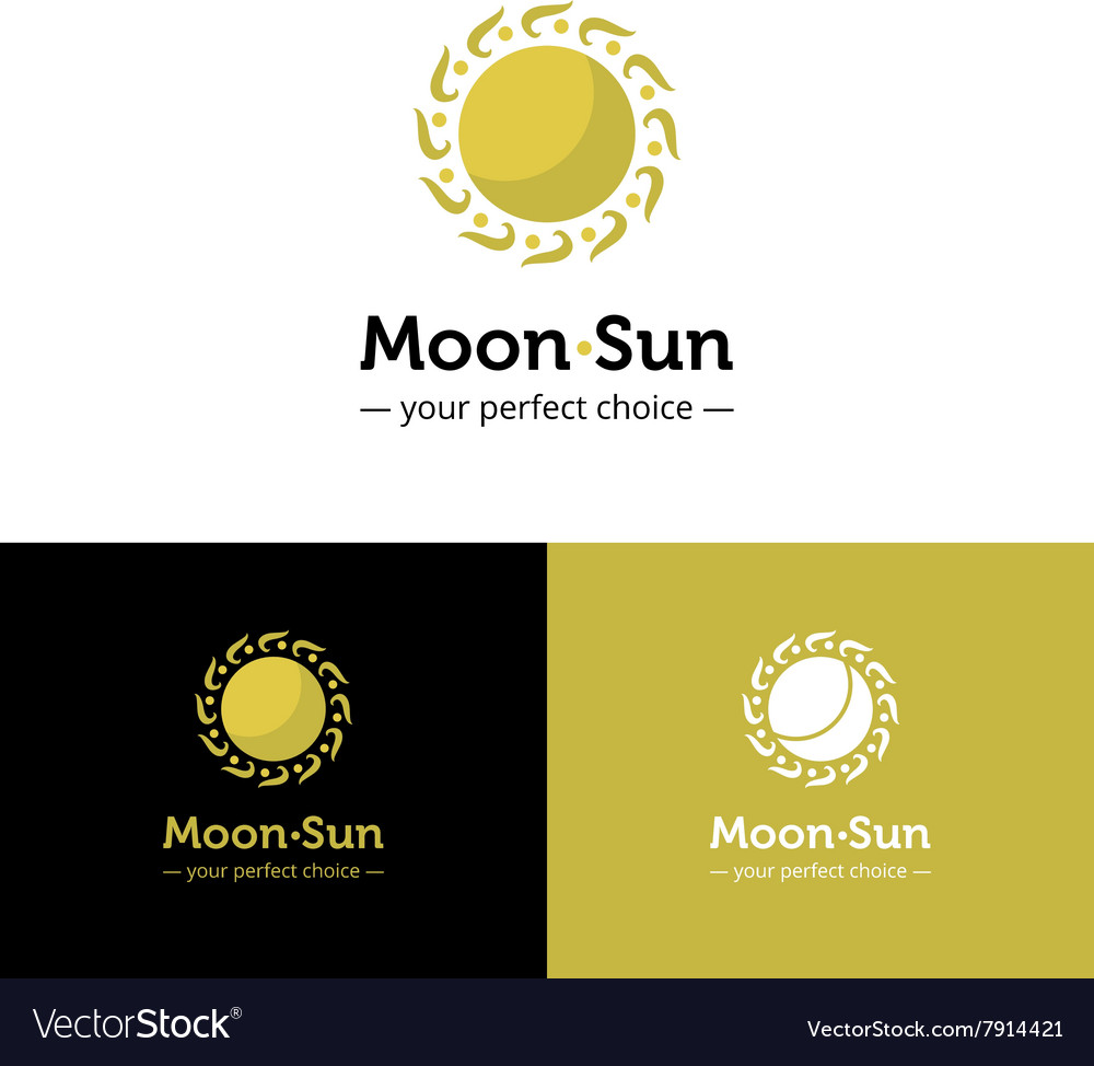 Creative sun and moon logo Golden color