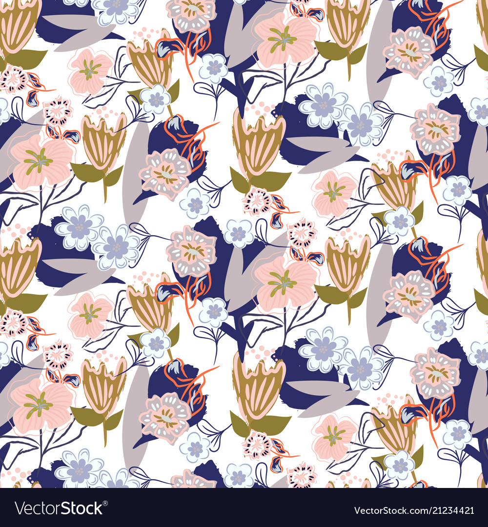 Floral chaotic garden seamless pattern