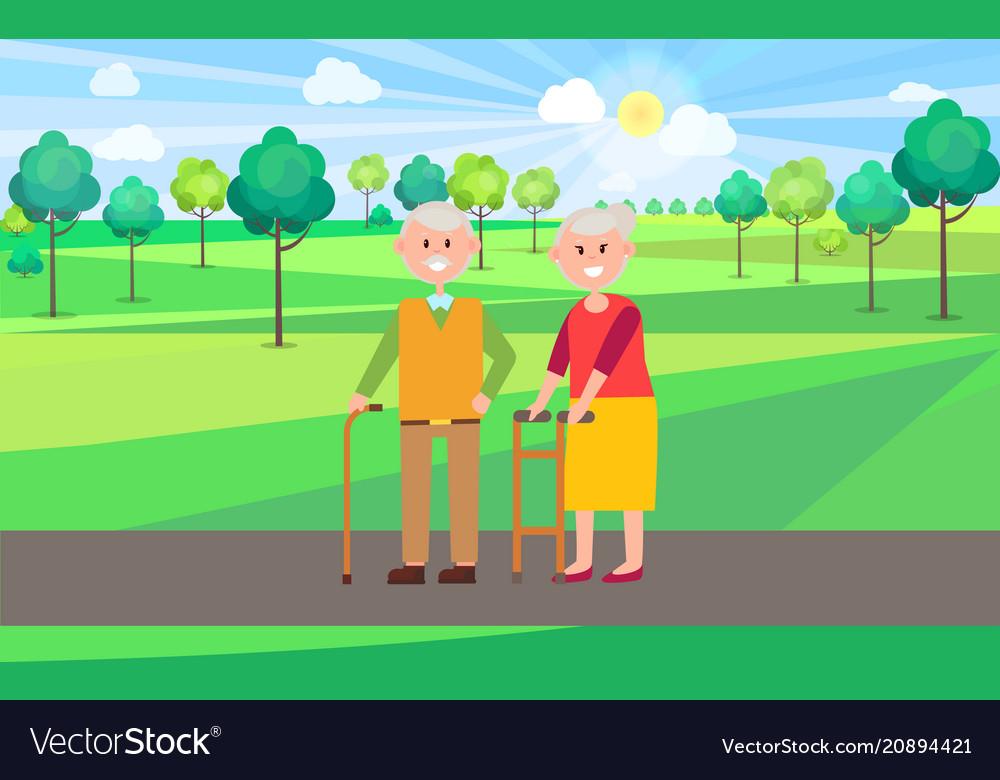 Granny and granddad poster vector image