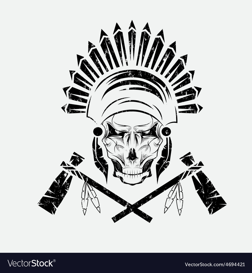 Native American chief skull in tribal headdress