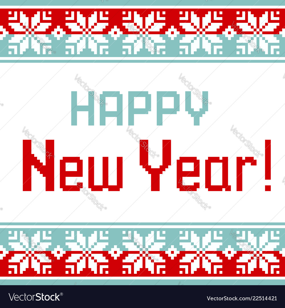 Pattern for knit greeting card happy new year