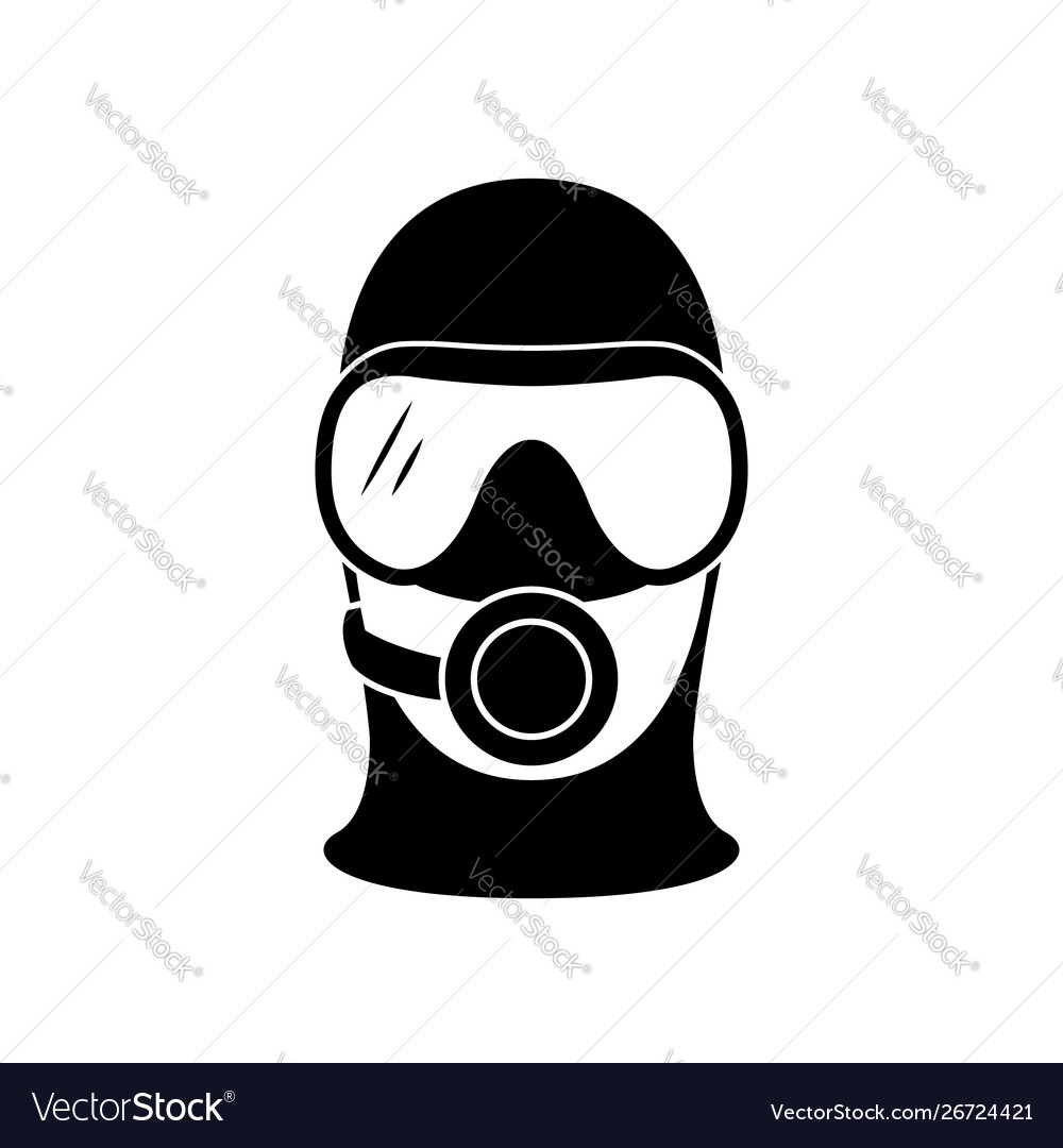 Scuba diver icon head silhouette with diving