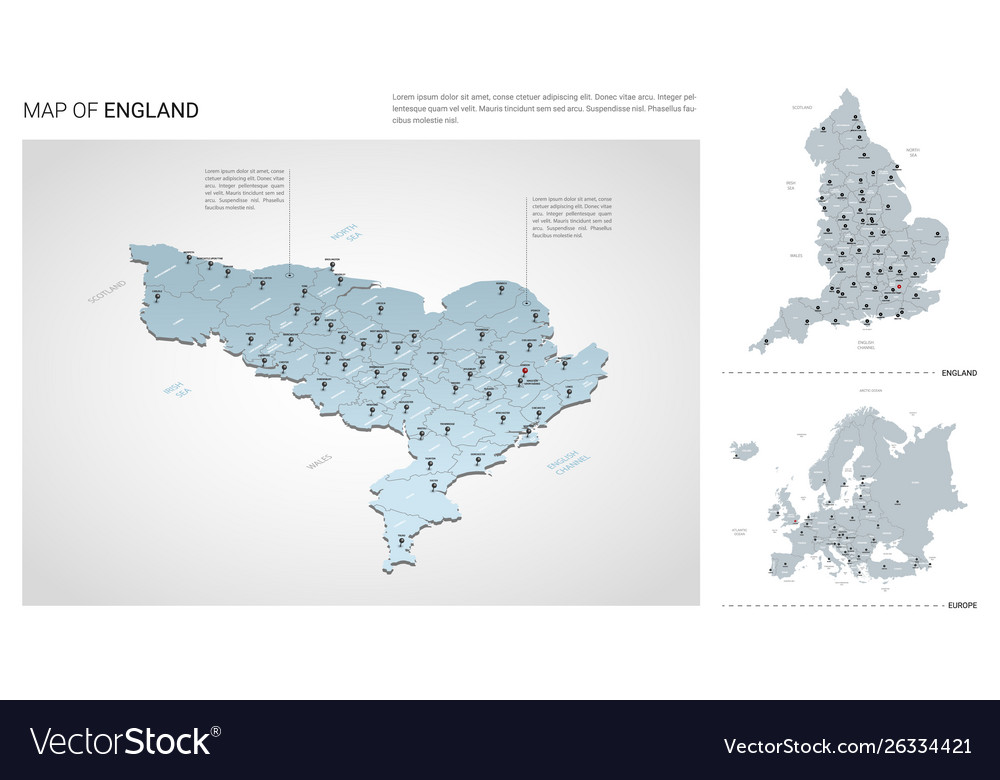 Country Map Of England.Set England Country Isometric 3d Map England