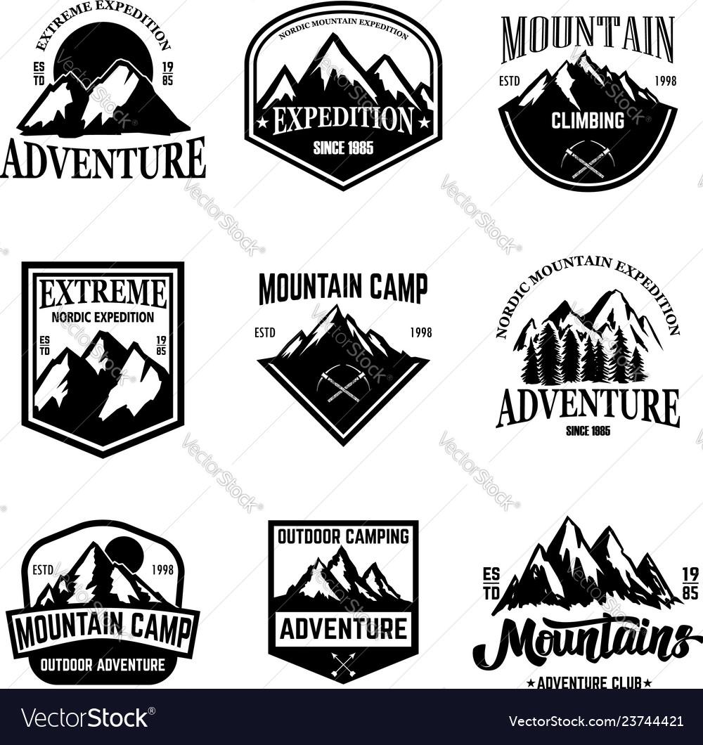 Set of mountain tourism emblems design element