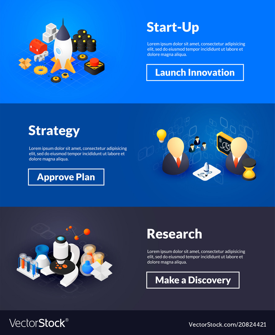 Startup strategy and research banners of isometric