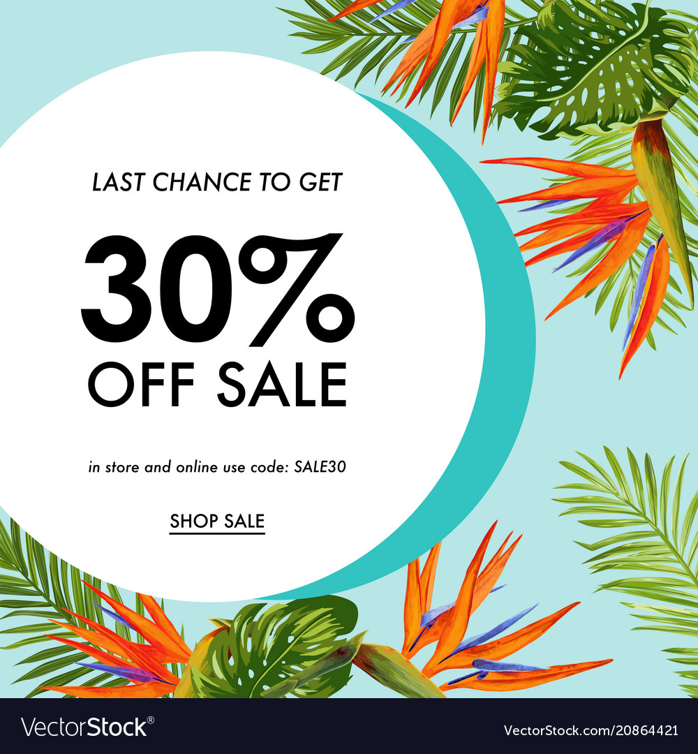 Summer sale tropical banner seasonal promotion