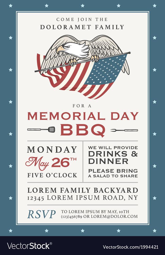 Vintage Memorial Day barbecue invitation Vector Image