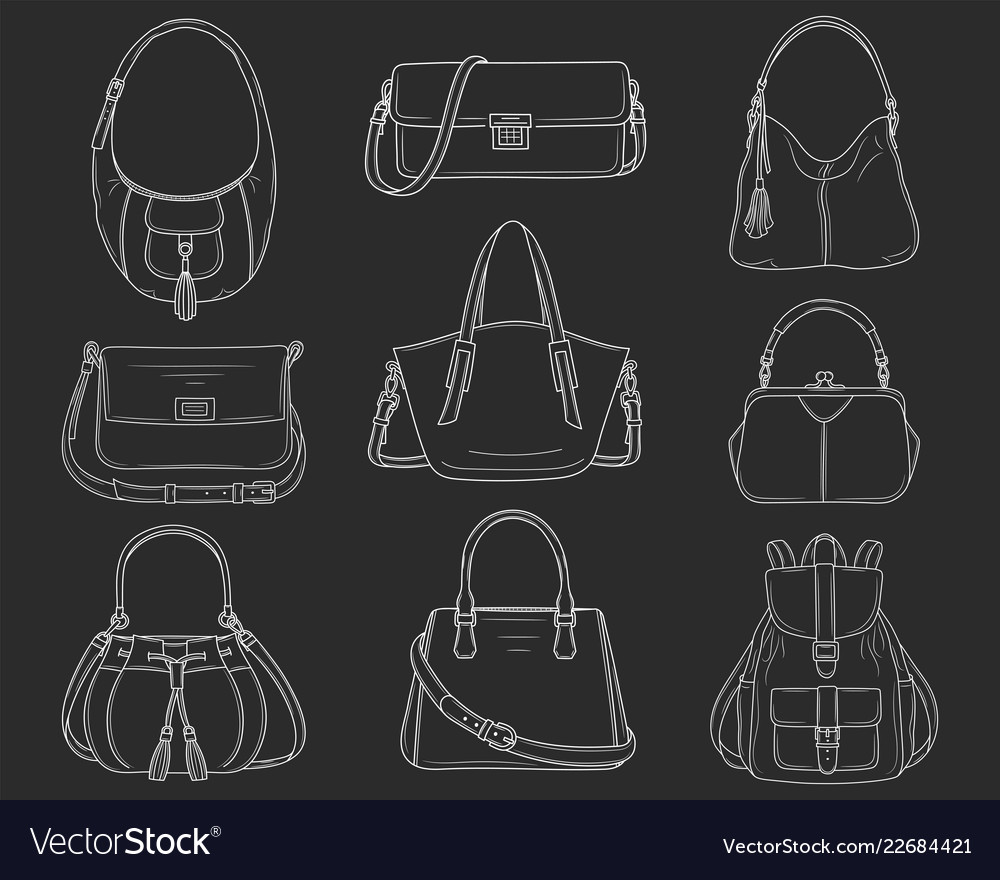 Women fashion handbags collection sketch