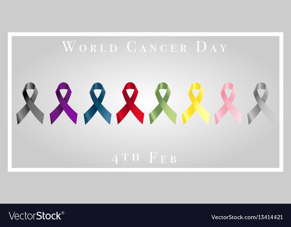 World cancer day with ribbons