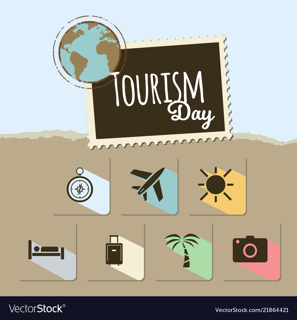 World tourism day card on blue and brown