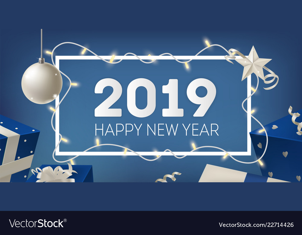 2019 new year festive banner template with border vector image
