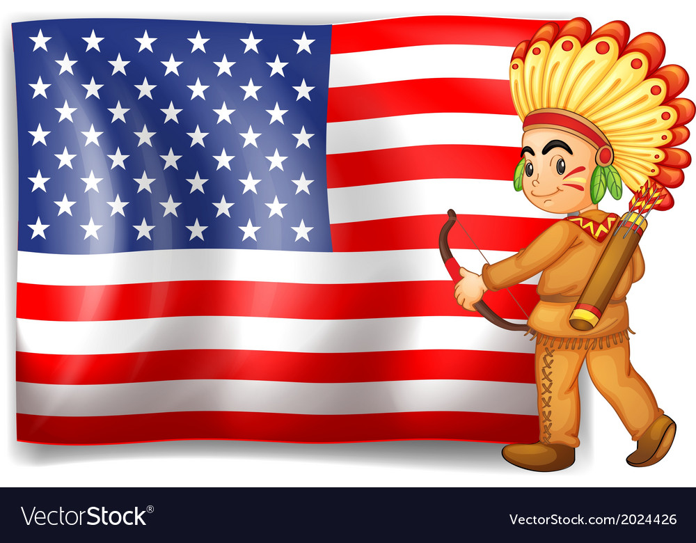 A young Indian and the USA flag