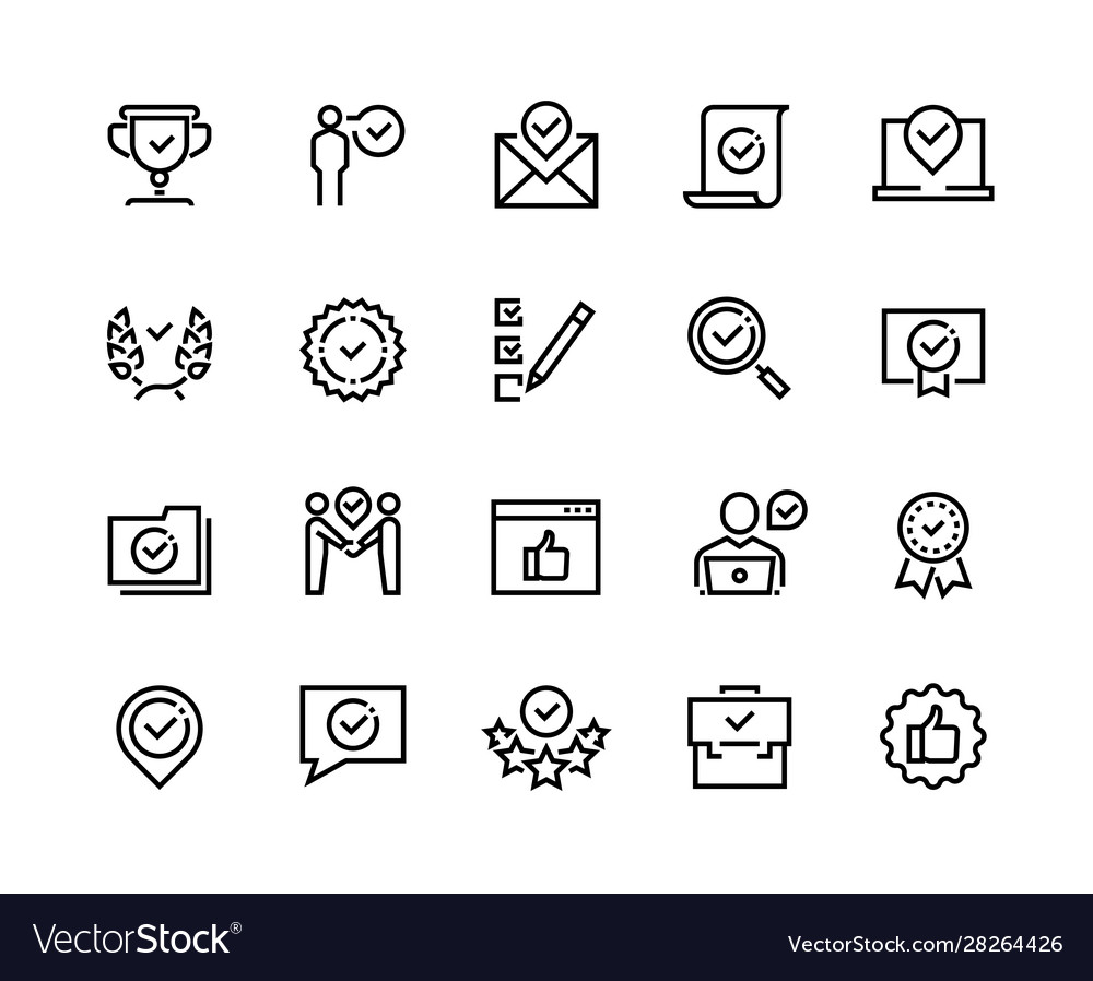 Approve line icons quality guaranteed payment