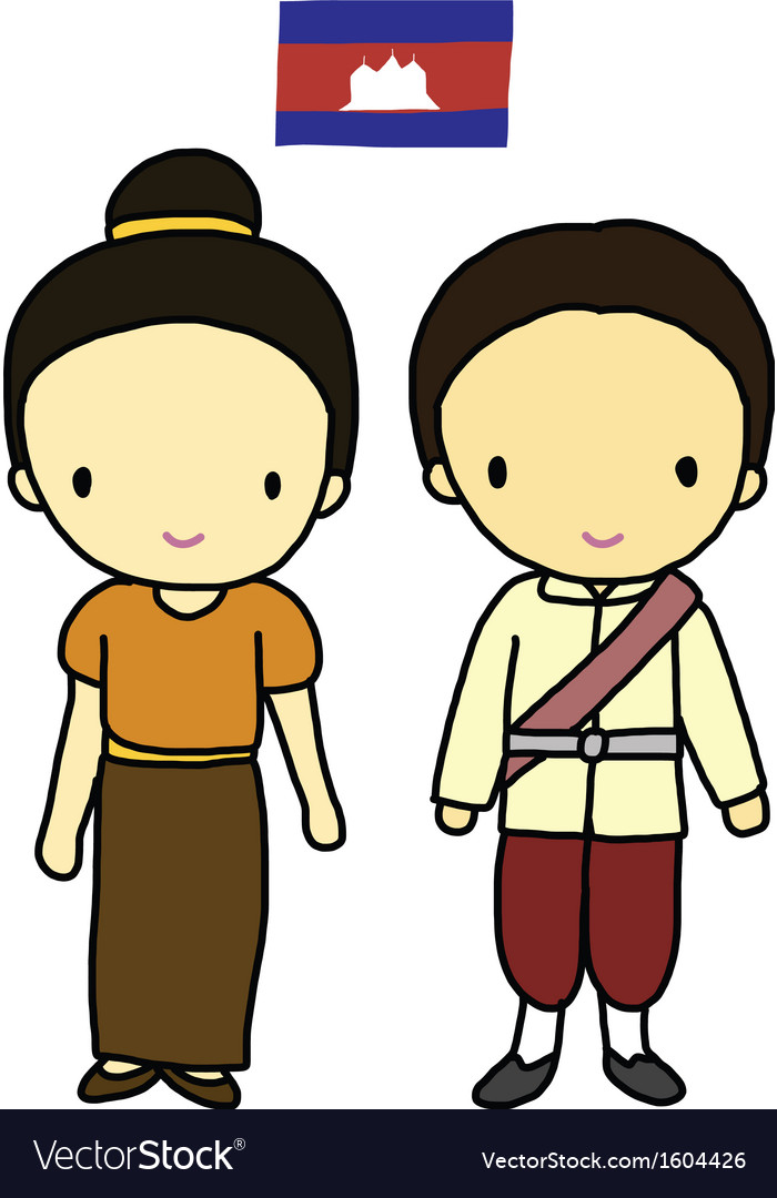 Cambodia traditional costume vector image