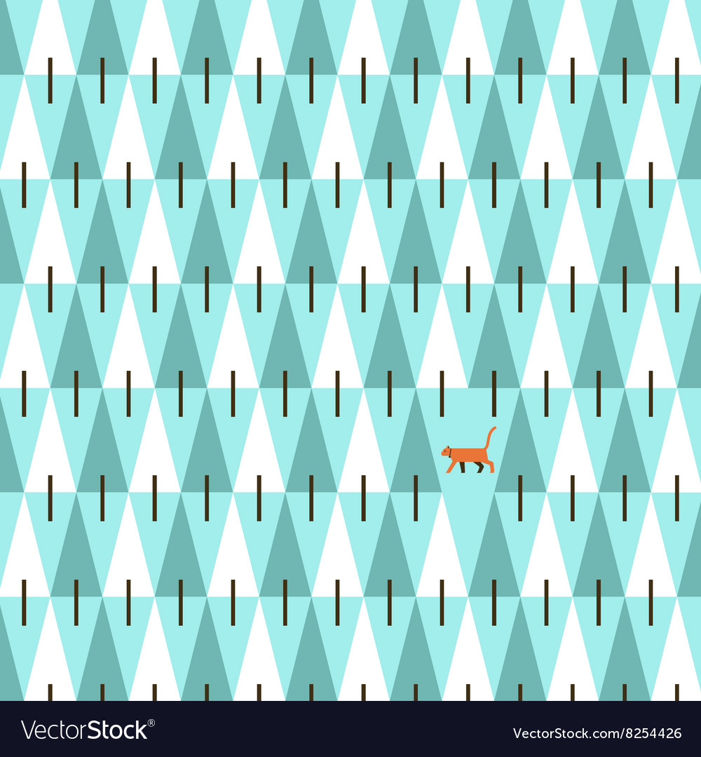 Cat in pine forest vector image