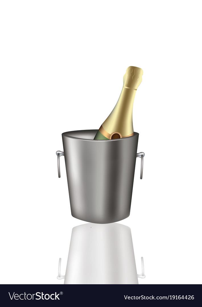 Champagne bottle in metal bucket