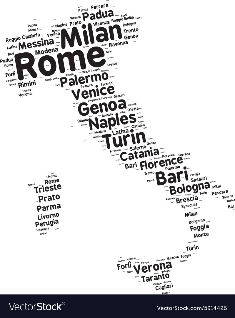 Cities of Italy word cloud
